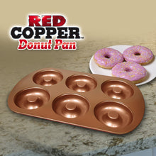 Load image into Gallery viewer, Red Copper Donut Pan