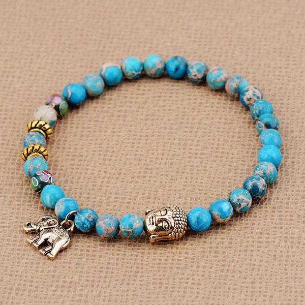 Natural Stone Buddha and Elephant Bead Tibetan Bracelets