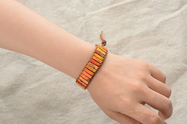 Tube Natural Stone Beaded Single Leather Wrap