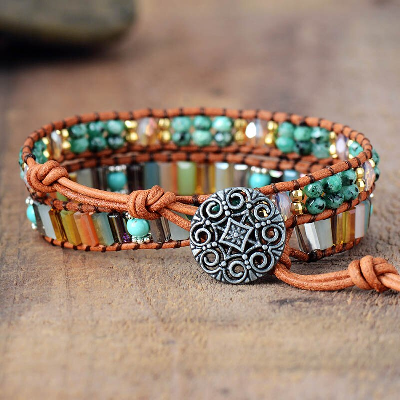Femme Semi precious Stone 7 Color Crystals Leather Wrap Bracelet