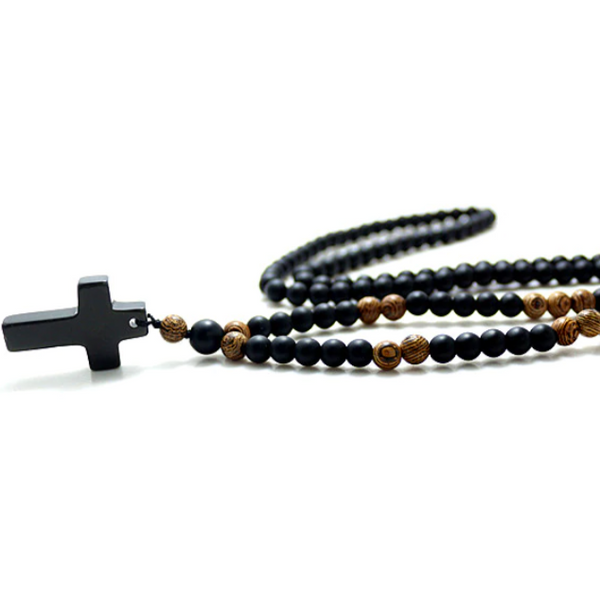 Rosary Necklace - Black Stone & Wood Beads