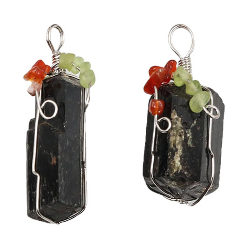Crystal Pendant - Black Tourmaline with Red Agate & Peridot Quartz