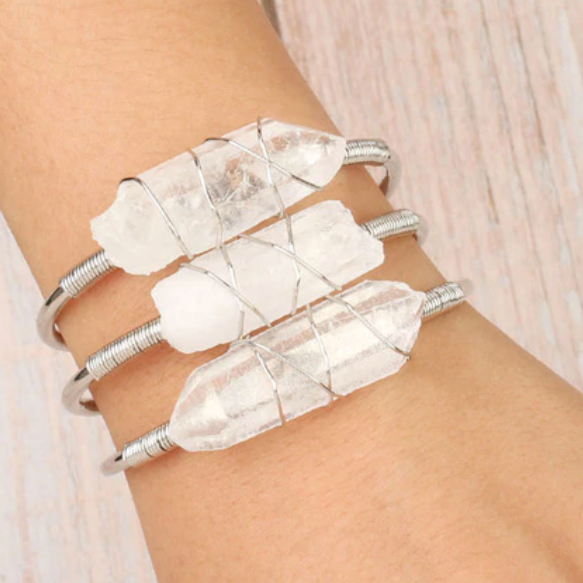 Bracelet- Clear Quartz Wire Wrap
