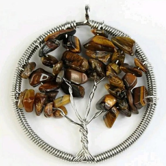Crystal Pendant- Tigers Eye Tree of Life