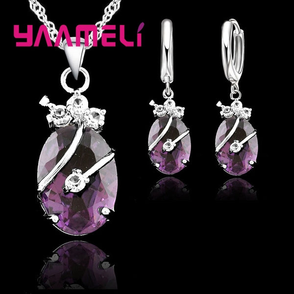 925 Sterling Silver Wedding Set Crystal Stone Pendant