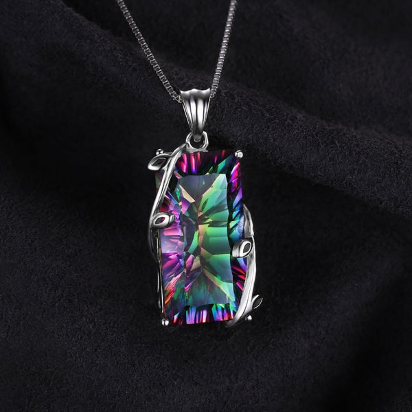 16ct Rainbow Mystic Topaz Pendant Necklace 925 Sterling Silver Gemstones