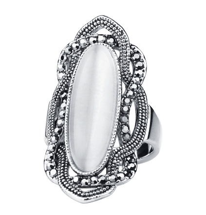 Top Quality Bohemian Style White Opal Ring