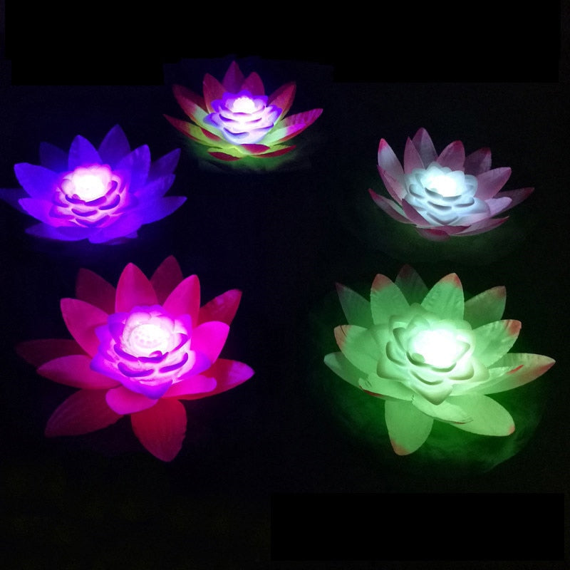 1pcs LED Wishing Light Floating Flower Candle