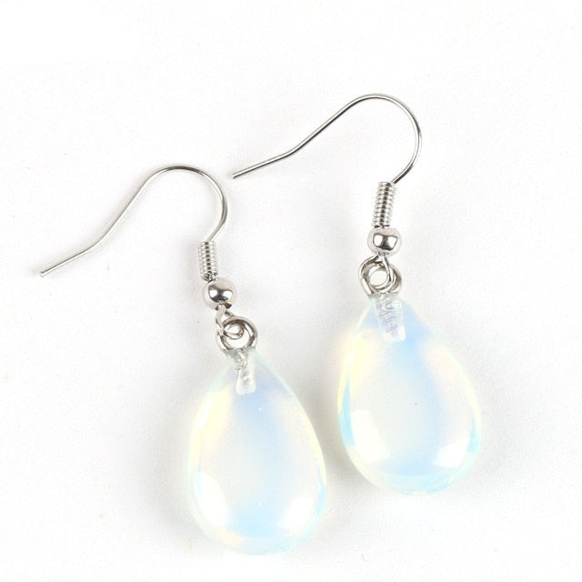 Water Drop Opal Crystal Lazuli Beads Dangle Natural Pendant Stone Earring