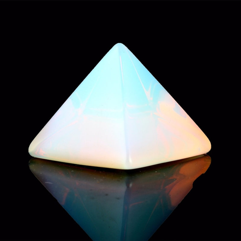Natural Stone Carved Opalite Opal Pyramid