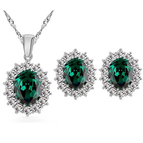 Crystal rhinestones zircon pendant chain necklace earrings ring