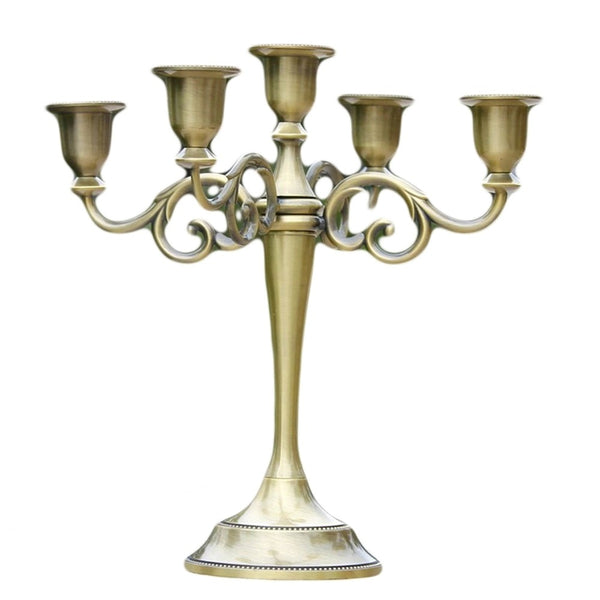 Silver/Gold/Bronze/Black 3-Arms Metal Pillar Candle Holders