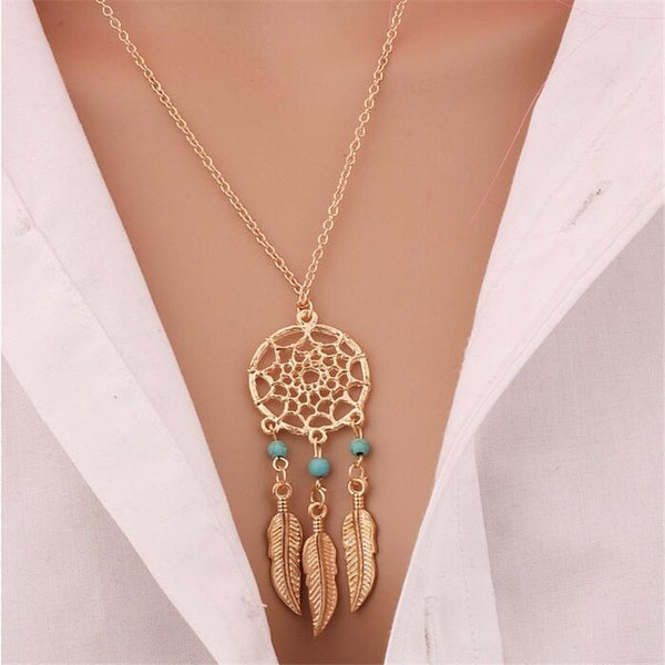 Trendy Dreamcatcher Pendant Mandala Lotus Necklaces