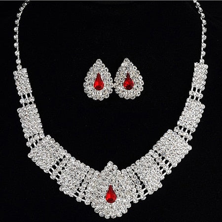Silver Drop Earring Necklace Set