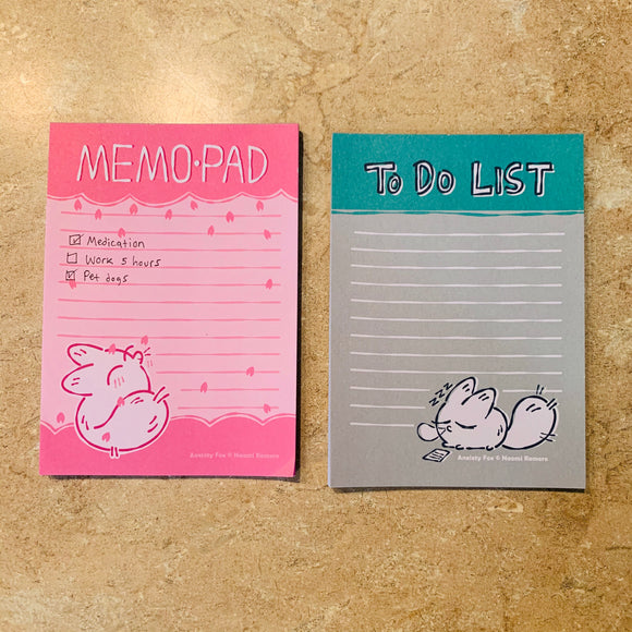 Anxiety Fox Memo Pad Set