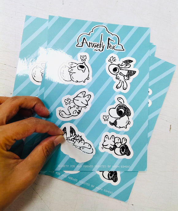 Anxiety Fox and Friends Sticker Sheet
