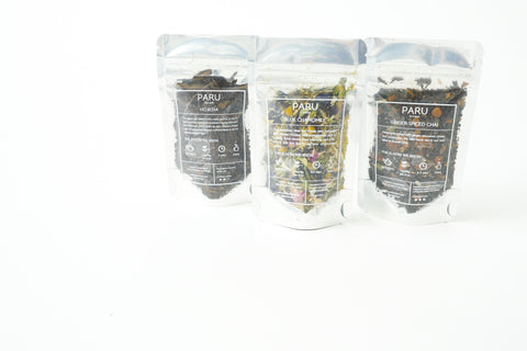 Three teas in bags including Blue Chamomile, Ginger Spiced Chai, and Hojicha