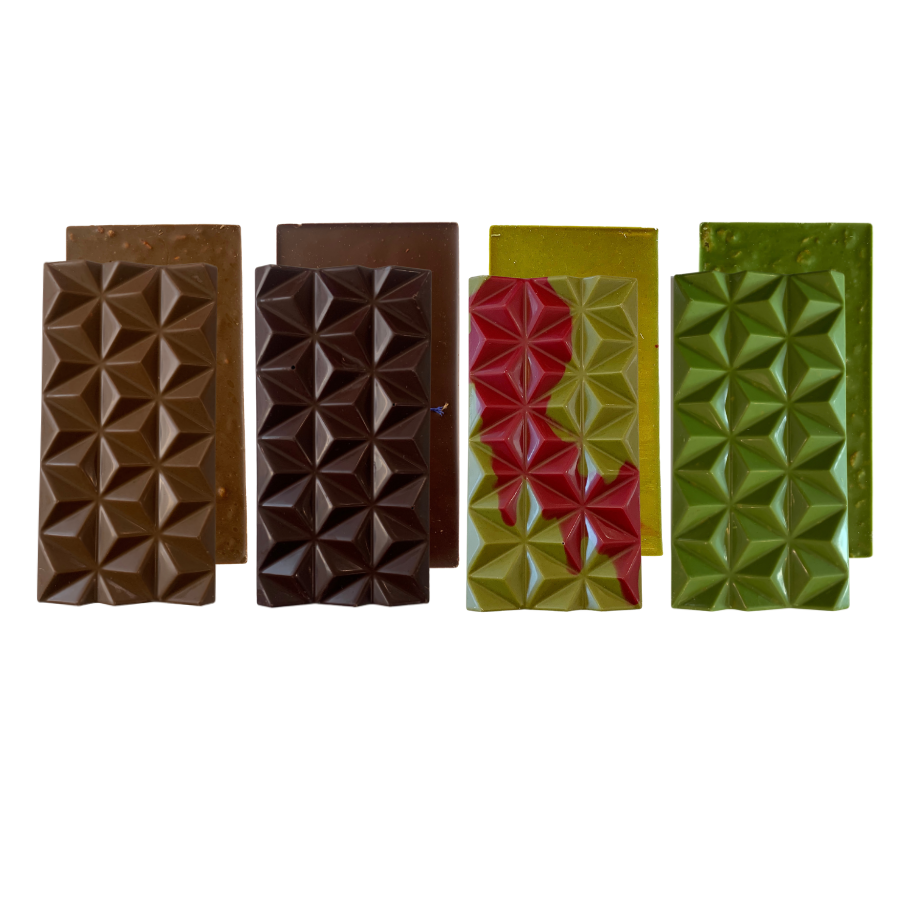 Hojicha Bar, Earl Grey Lavender Dark Chocolate Bar, Matcha Raspberry Bar, Matcha Cornflake Bar