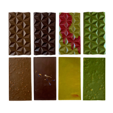 Load image into Gallery viewer, Hojicha Bar, Earl Grey Lavender Dark Chocolate Bar, Matcha Raspberry Bar, Matcha Cornflake Bar (Front and back)