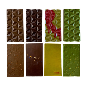 Hojicha Bar, Earl Grey Lavender Dark Chocolate Bar, Matcha Raspberry Bar, Matcha Cornflake Bar (Front and back)