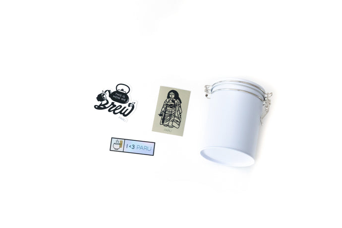 PARU Tea Canister with stickers