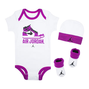 JORDAN Baby Gift Set, White, Purple Color, Front Side, 3 Items, Creeper, Socks, Hats - Rookie Hong Kong