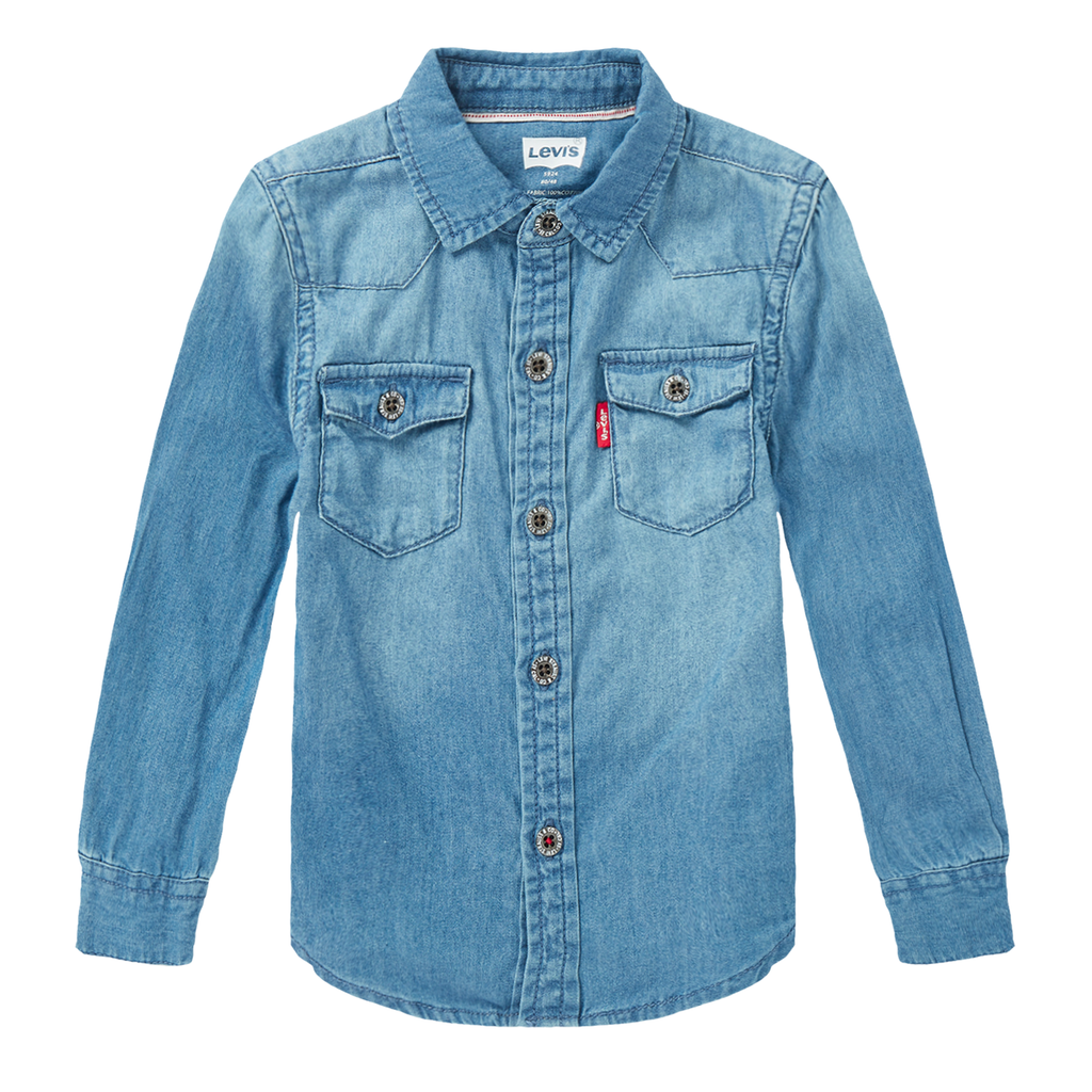 LEVI'S Baby Boys' Classic Stand Collar Denim Shirt
