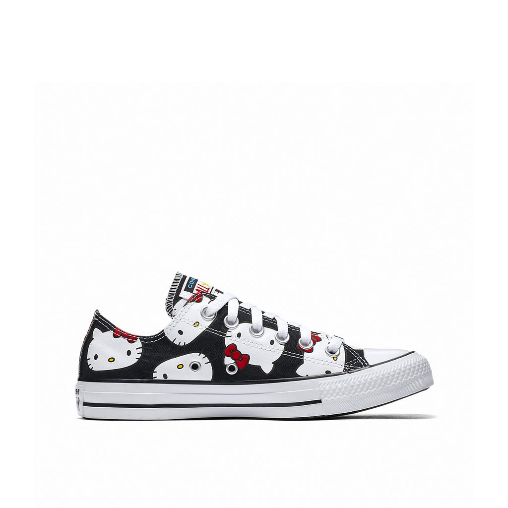 CONVERSE X HELLO KITTY CHUCK TAYLOR ALL STAR CANVAS LOW TOP Pre-school, right Side, Black Color, ROOKIE Hong Kong