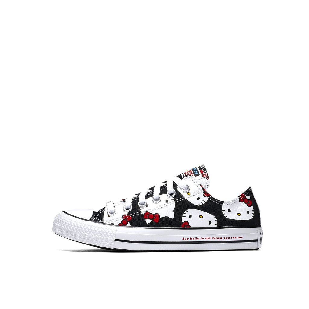 CONVERSE X HELLO KITTY CHUCK TAYLOR ALL STAR CANVAS LOW TOP Pre-school, Left Side, Black Color, ROOKIE Hong Kong