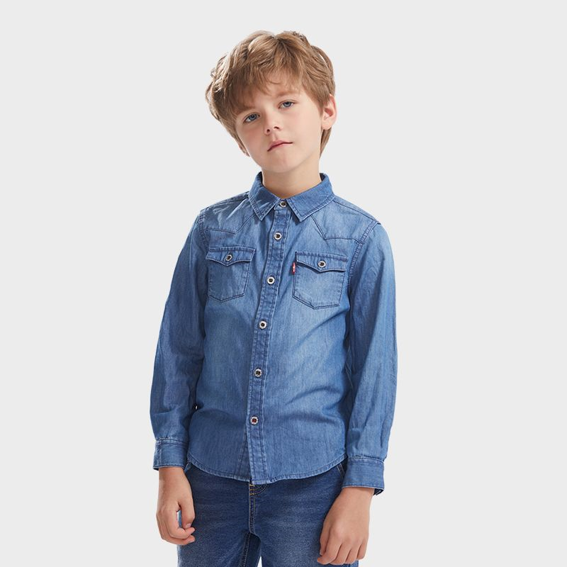 LEVI'S Boys' Classic Stand Collar Denim Shirt
