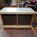 Retro School Bank of 10 Drawers With Vinyl Top - On Wheels