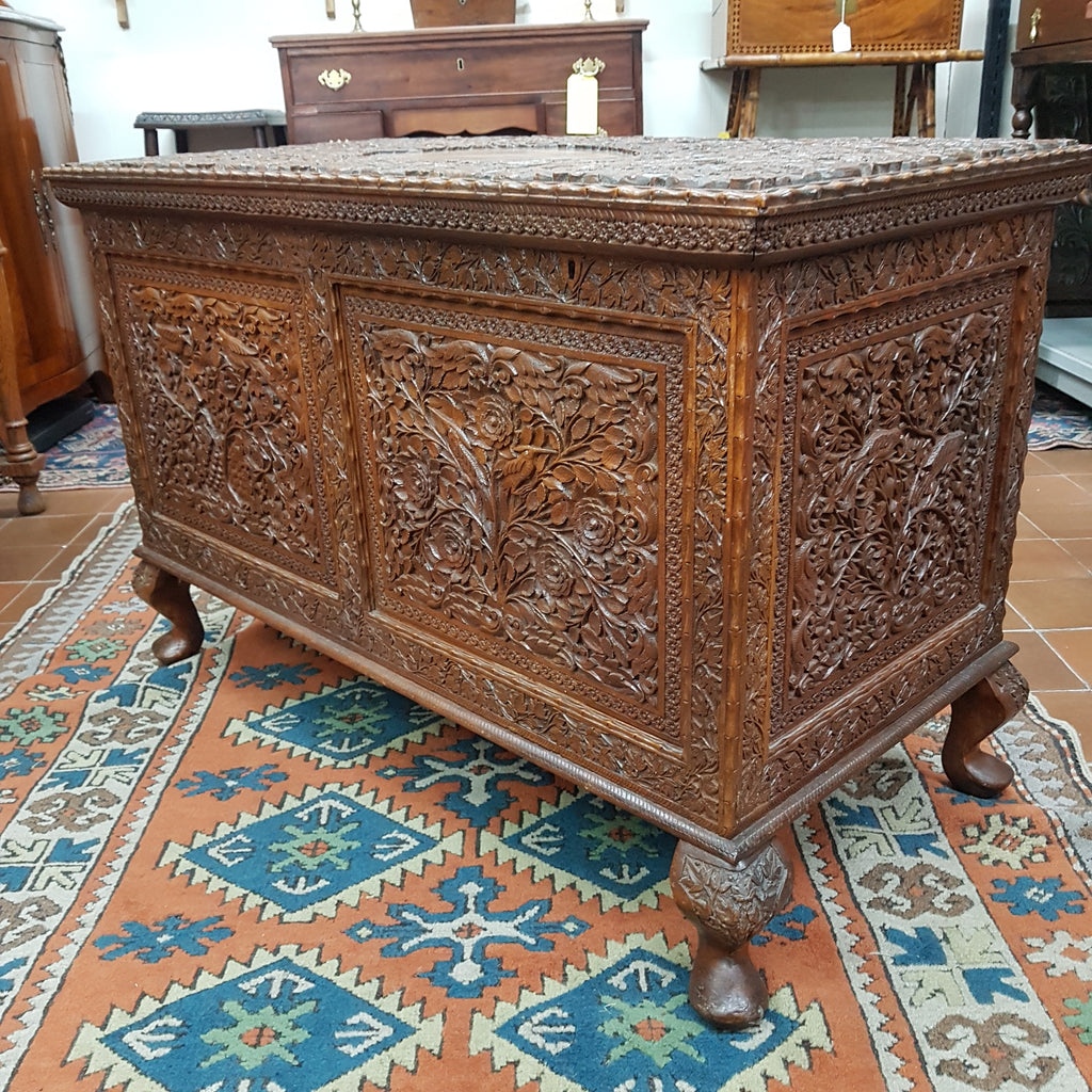 Indonesian Heavily Carved Hardwood Trunk