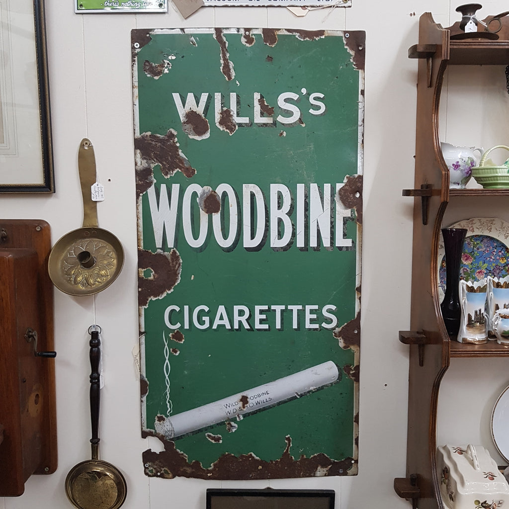Vintage Original Will's Woodbine Cigarettes Enamel Sign