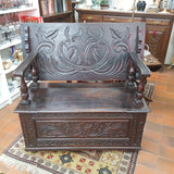 19th Century Gothic Revival, Carved Oak Monks Bench / Table