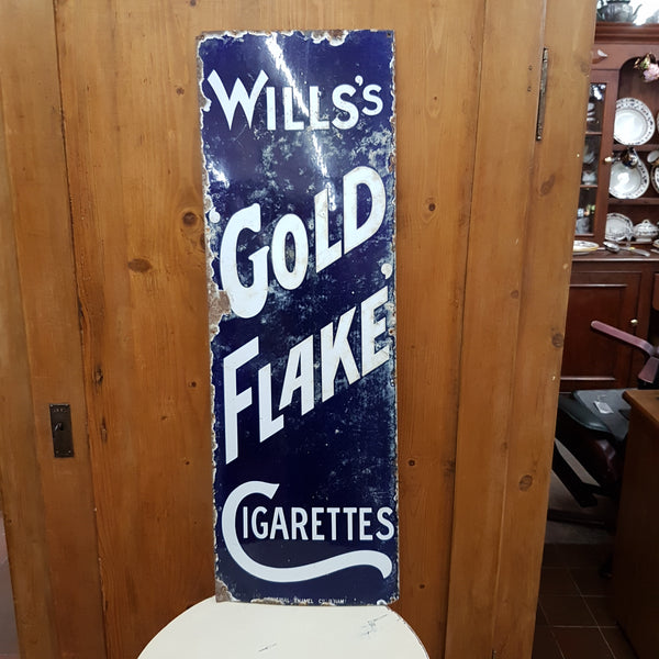 Vintage Original Will's Gold Flake Cigarettes Enamel Sign