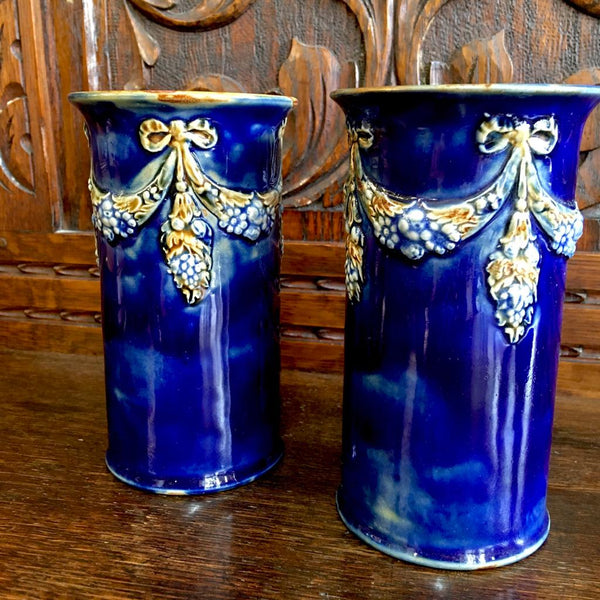 Pair of Royal Doulton Tube Line Vases