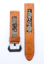 Load image into Gallery viewer, 47Ronin#021 Leather watch strap with Tatami edge fabric (20mm, light brown leather, with Pink & gold Tatami edge fabric, Pink stitches)