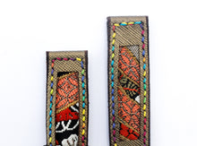 Load image into Gallery viewer, 47Ronin#18 Leather watch strap with Kimono fabric (20mm, leather with golden coating, Black, gold, red Kimono fabric, Rainbow stitches