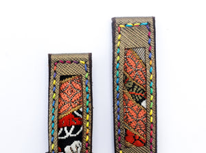 47Ronin#18 Leather watch strap with Kimono fabric (20mm, leather with golden coating, Black, gold, red Kimono fabric, Rainbow stitches