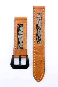 47Ronin#22 Leather watch strap with Kimono fabric (20mm, Yellow stitches)