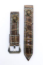 Load image into Gallery viewer, 47Ronin#010 Leather watch strap with crocodile print and junior high school uniform button (20mm, Brown leather, Brass button, Blue thread)