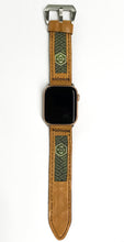Load image into Gallery viewer, 47Ronin#019 Leather watch strap with Tatami edge fabric (24mm, light brown leather, with Green & gold Tatami edge fabric, Black stitches)