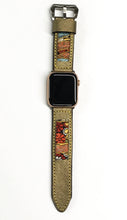 Load image into Gallery viewer, 47Ronin#016 Leather watch strap with Kimono fabric (24mm, leather with golden coating, Black, gold, red & blue Kimono fabric, Yellow stitches