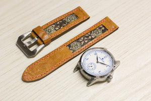 47Ronin#021 Leather watch strap with Tatami edge fabric (20mm, light brown leather, with Pink & gold Tatami edge fabric, Pink stitches)