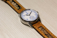 Load image into Gallery viewer, 47Ronin#022 Leather watch strap with Kimono fabric (20mm, Yellow stitches)