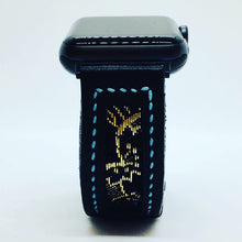 Load image into Gallery viewer, 47Ronin#111 Black calf leather with Japanese Kimono fabric (22mm, blue stitching)