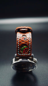 47Ronin#063 Chocolate brown calf leather with reptile print watch strap, Japanese kimono fabric (21mm, blue stitches)