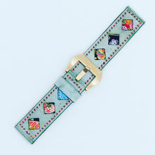 Load image into Gallery viewer, 47Ronin#081 Tiffany Blue calf leather (22mm, Pink stitches)
