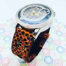Load image into Gallery viewer, 47Ronin#065 Russet brown calf leather with reptile print watch strap, Japanese kimono fabric (21mm, navy blue stitches)