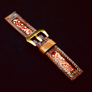 47Ronin#193 Chocolate glossy brown calf leather (22mm, Yellow stitching)
